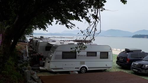 강진 하저마을 해변에 캠핑장 들어섰다