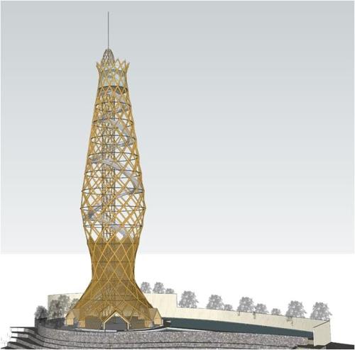 형태 드러낸 광명시 높이 90m 목조 전망타워