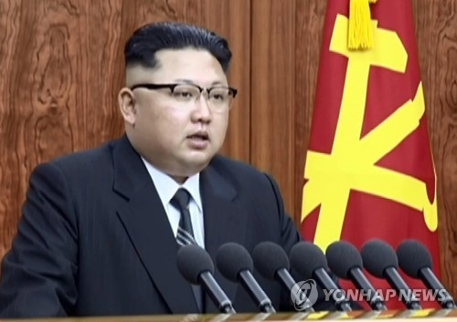 North Korean leader Kim Jong-un delivers his New Year's address in this photo captured from North Korea's Central TV Broadcasting Station on Jan. 1, 2017. Kim said Pyongyang is in the final stage of preparing to test-fire an intercontinental ballistic missile. (For Use Only in the Republic of Korea. No Redistribution) (Yonhap)