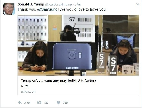 (LEAD) Trump says 'Thank you, Samsung' for considering building factory in U.S. - 1