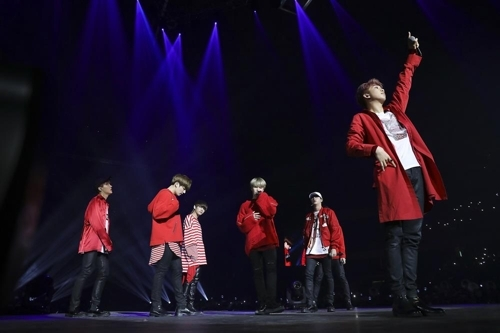 This photo provided by Big Hit Entertainment shows a highlight from boy band BTS recent concert in South America. (Yonhap)