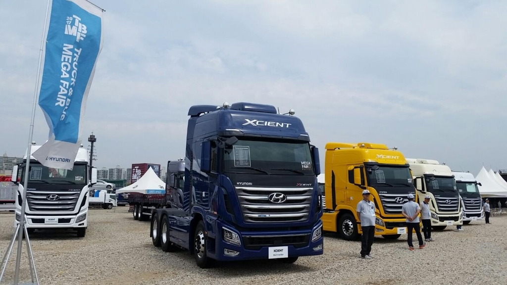 This photo taken on May 25, 2017, shows Hyundai's Xcient trucks displayed at a commercial car fair in Goyang. (Yonhap)