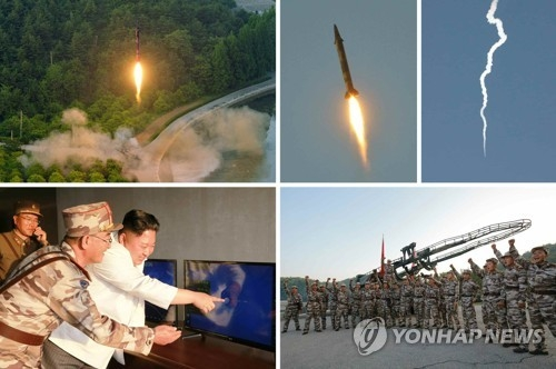 This set of photos, released by North Korea's media on May 30, 2017, show its latest ballistic missile launch and leader Kim Jong-un inspecting the test. (For Use Only in the Republic of Korea. No Redistribution) (Yonhap)