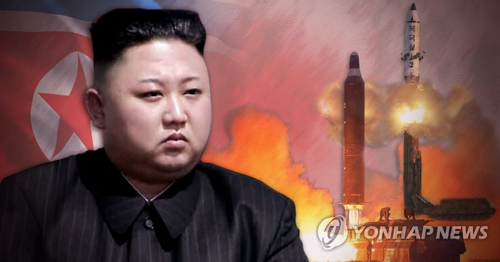 A composite image of North Korea's leader Kim Jong-un and its missile launches. (Yonhap)