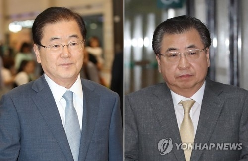 This combined photo shows National Intelligence Service chief Suh Hoon (R) and National Security Office chief Chung Eui-yong. (Yonhap)