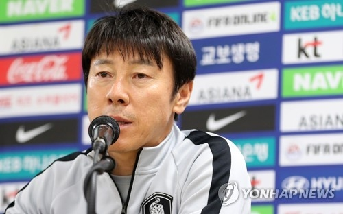 South Korea national football team head coach Shin Tae-yong speaks during a press conference at Daegu Stadium in Daegu on May 27, 2018, one day ahead of the international friendly match between South Korea and Honduras. (Yonhap)