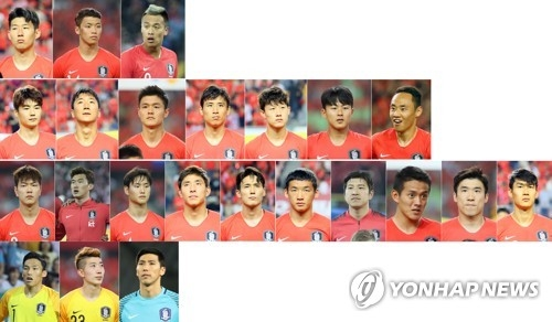This composite photo shows South Korea's 23-man squad for the 2018 FIFA World Cup. (Yonhap)