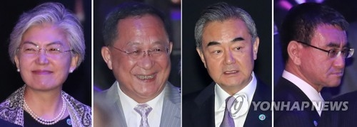A combination of photos of South Korean Foreign Minister Kang Kyung-wha (L) and her North Korean, Chinese and Japanese counterparts -- Ri Yong-ho, Wang Yi and Taro Kono (Yonhap)