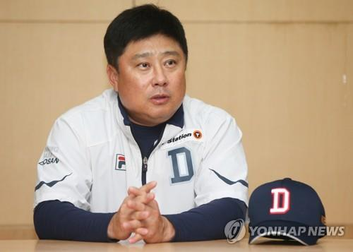 Kim Tae-hyung, manager of the Doosan Bears, speaks to reporters before Game 4 of the Korean Series against the SK Wyverns at SK Happy Dream Park in Incheon, 40 kilometers west of Seoul, on Nov.