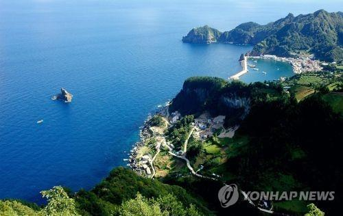 This undated file photo provided by Ulleung County shows Ulleung Island in the East Sea. (Yonhap)