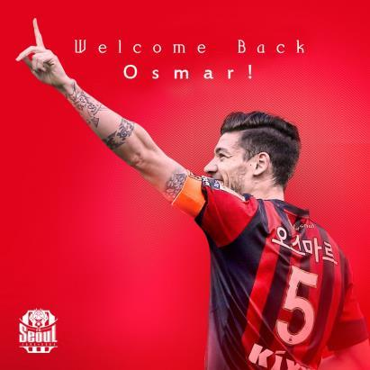 This image provided by FC Seoul on Dec. 18, 2018, shows their former captain Osmar Barba, who has signed a new three-year deal with the K League 1 club after spending one season with Cerezo Osaka on a loan deal. (Yonhap)