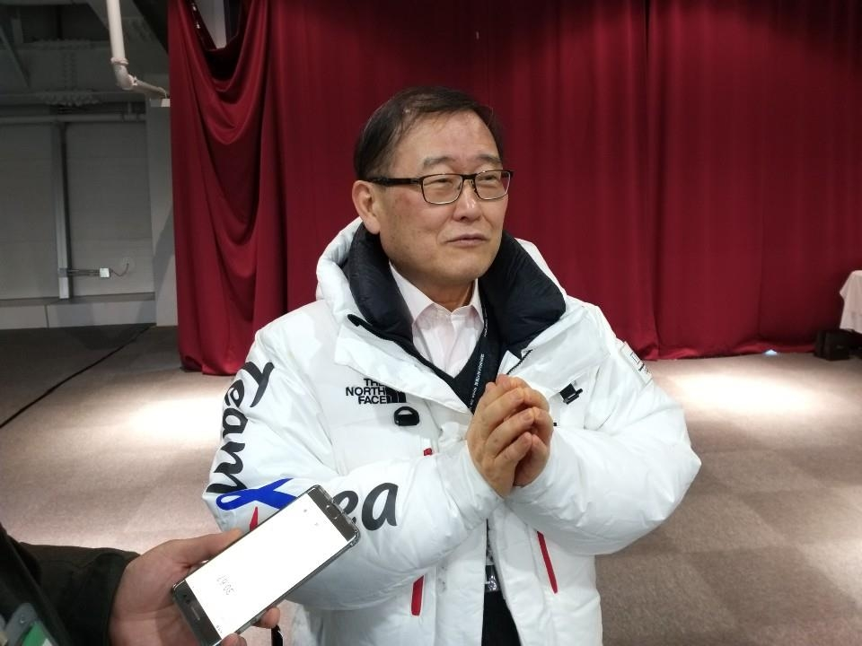 Chung Mong-won, president of the Korea Ice Hockey Association, speaks with Yonhap News Agency in an interview at Gangneung Hockey Centre in Gangneung, 230 kilometers east of Seoul, on Feb. 7, 2019. (Yonhap)