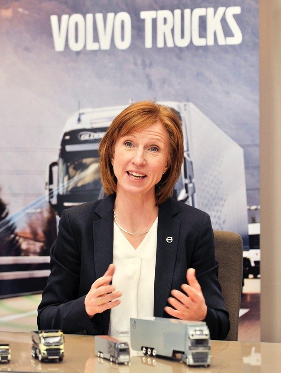 In this photo taken April 9, 2019, Volvo Trucks International Vice President Anna Müller in charge of the Swedish truck maker's international sales speaks during an interview with Yonhap News Agency in Gimpo, just west of Seoul, on the sidelines of a media event to promote Volvo trucks' safety features. (Yonhap)