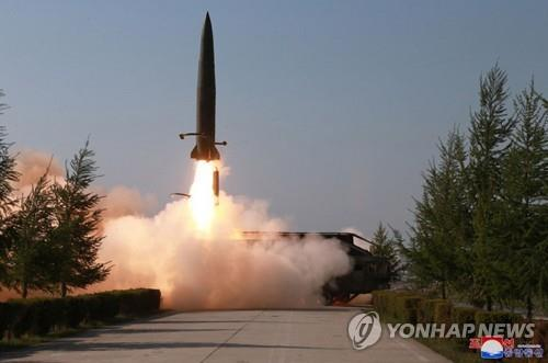A suspected short-range missile is launched from Kusong, North Pyongan Province in the northwestern part of North Korea, on May 9, 2019, in this photo released by the Korean Central News Agency. North Korea fired what were presumed to be two short-range missiles into the East Sea, with leader Kim Jong-un observing the launch. (For Use Only in the Republic of Korea. No Redistribution) (Yonhap)