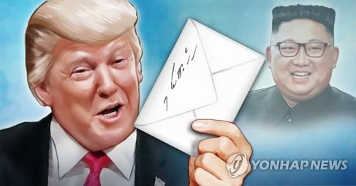 An image illustrating North Korean leader Kim Jong-un's letter to U.S. President Donald Trump (Yonhap)