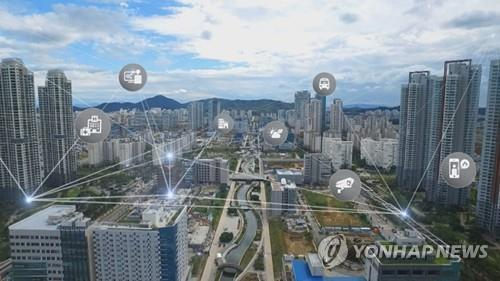 This file image shows a concept of a smart city network. (Yonhap)