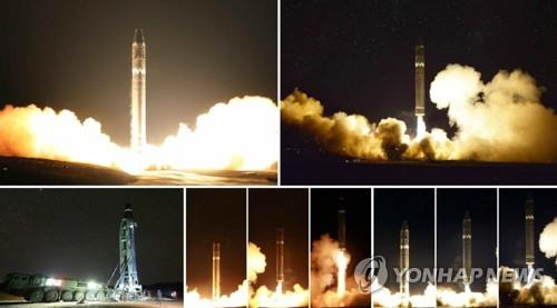 Shown here are images of the test-firing of North Korea's Hwasong-15 intercontinental ballistic missile on Nov. 29, 2017. The North's Rodong Shinmun published the images in its Nov. 29 edition. (For Use Only in the Republic of Korea. No Redistribution) (Yonhap)