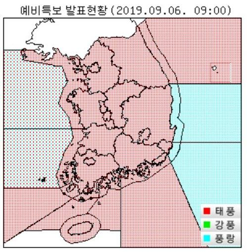 This map provided by the Korea Meteorological Agency on Sept. 6, 2019, shows the areas (in red) that are forecast to be affected by Typhoon Lingling, according to a preliminary typhoon warning. (PHOTO NOT FOR SALE) (Yonhap)