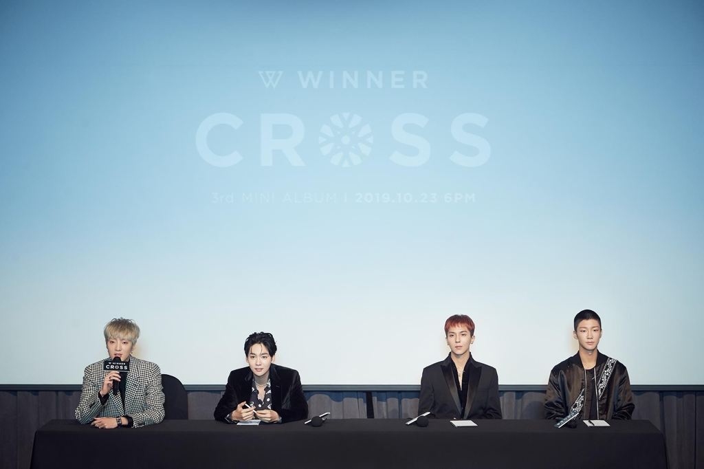 This image of WINNER during a press conference on Oct. 23, 2019, was provided by YG Entertainment. (PHOTO NOT FOR SALE) (Yonhap)