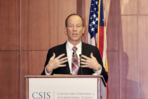 David Stilwell, U.S. assistant secretary of state for East Asian and Pacific affairs, delivers remarks at the Center for Strategic and International Studies in Washington on Dec. 12, 2019. (Yonhap)