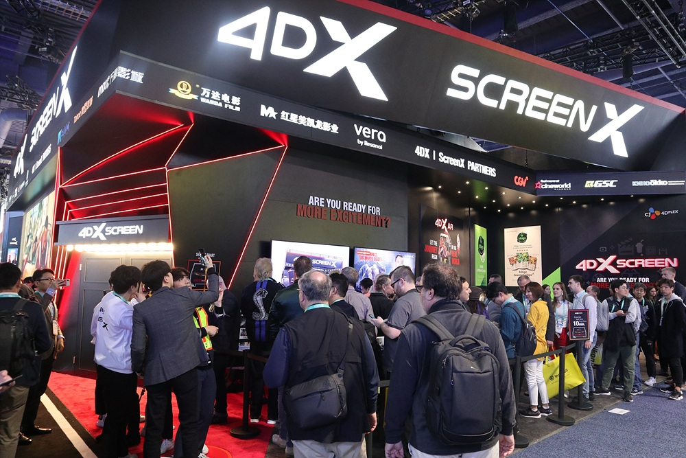 This photo provided by CJ CGV Co. on Jan. 9, 2020, shows the 4DX Screen operated by CJ 4DPLEX Co. at the Consumer Electronics Show 2020 in Las Vegas, Nevada. (PHOTO NOT FOR SALE) (Yonhap)