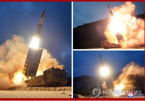 This composite photo, released by the North's Korean Central News Agency on Aug. 11, 2019, shows the test-firing of missiles, one day after their launch from the eastern North Korean coastal city of Hamhung. (For Use Only in the Republic of Korea. No Redistribution) (Yonhap)