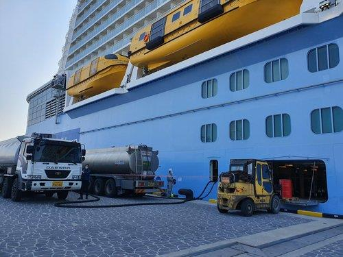 Fuel and ship supplies are provided to the Quantum of the Seas cruise ship at a port in Busan on April 3, 2020, in this photo provided by the Busan Port Authority. (PHOTO NOT FOR SALE) (Yonhap)