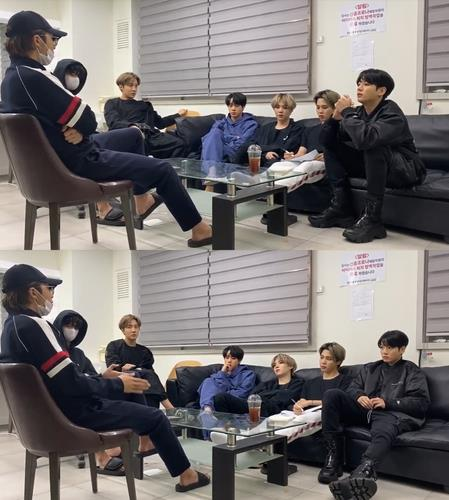 Images from BTS' live YouTube show on album production, provided by Big Hit Entertainment. (PHOTO NOT FOR SALE) (Yonhap)