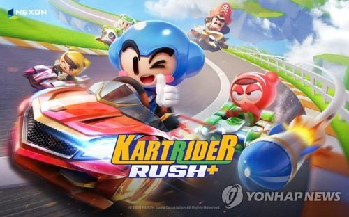 This undated photo, provided by South Korean game developer Nexon Co., shows its new mobile game KartRider Rush. (PHOTO NOT FOR SALE) (Yonhap)