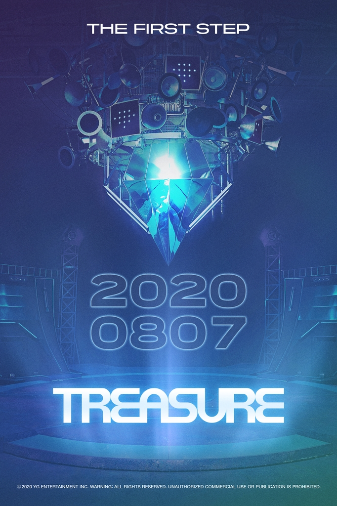 A teaser poster on the upcoming debut of YG Entertainment's latest boy band TREASURE on Aug. 7, 2020. YG Entertainment provided this image. (PHOTO NOT FOR SALE) (Yonhap)