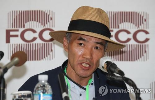 Lee Rae-jin, the elder brother of a South Korean official killed by North Korean soldiers while drifting in its waters, speaks during a press conference with foreign correspondents at the Foreign Correspondents' Club in Seoul on Sept. 29, 2020. (Yonhap)