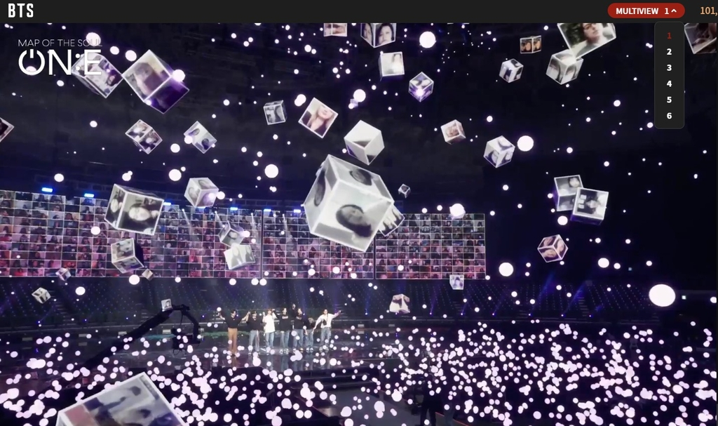 "A screenshot of BTS' online concert, ""BTS MAP OF THE SOUL ON:E"" on Oct. 10, 2020, provided by Big Hit Entertainment. (PHOTO NOT FOR SALE) (Yonhap)"