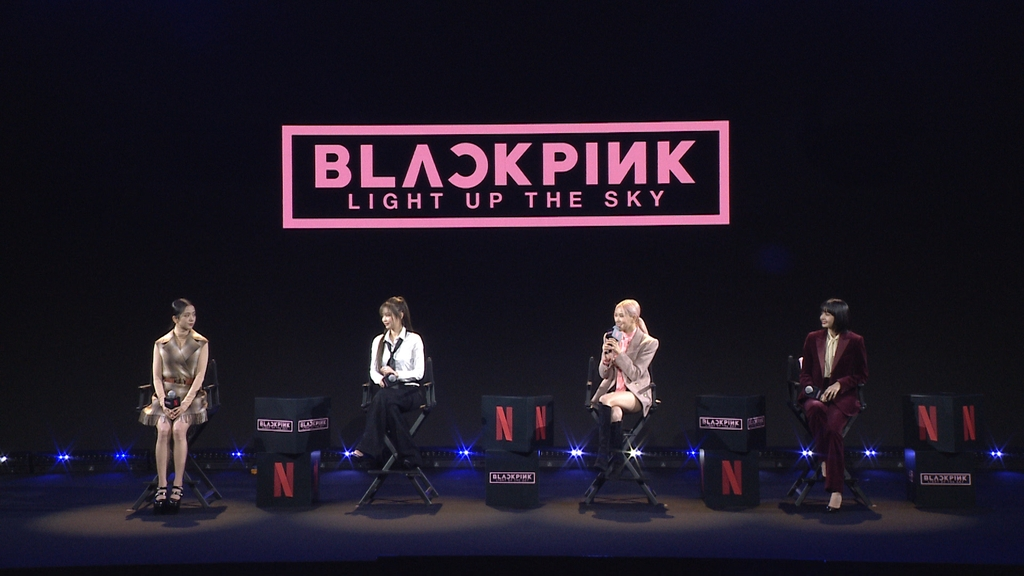 This photo, provided by Netflix, shows BLACKPINK members speaking during a media conference held on Oct. 13, 2020. (PHOTO NOT FOR SALE) (Yonhap)