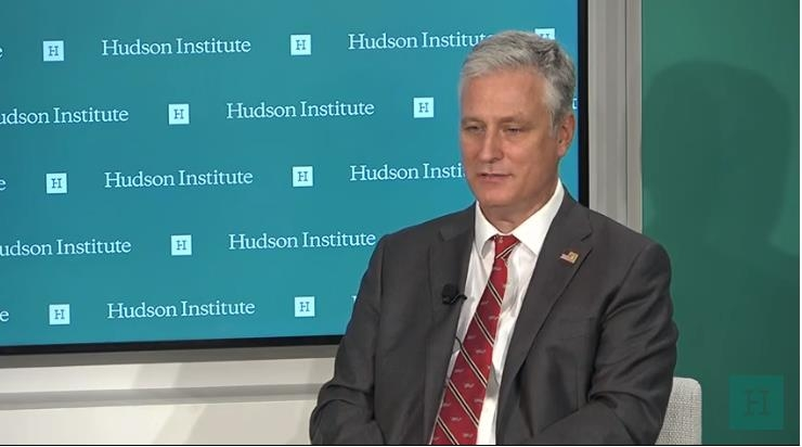 The captured image from the website of the Hudson Institute shows U.S. National Security Adviser Robert O'Brien speaking in a virtual seminar hosted by the Washington-based think tank on Oct. 28, 2020. (PHOTO NOT FOR SALE) (Yonhap)