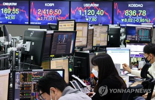 Electronic signboards at the trading room of Hana Bank in Seoul show the benchmark Korea Composite Stock Price Index (KOSPI) closed at 2,416.5 on Nov. 6, 2020, up 2.71 points or 0.11 percent from the previous session's close. (Yonhap)