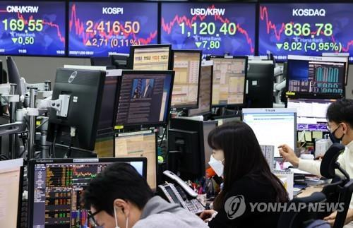 Electronic signboards at the trading room of Hana Bank in Seoul show the local currency closed at 1,120.4 won against the U.S. dollar on Nov. 2, 2020, up 7.8 won from the previous session's close. (Yonhap)