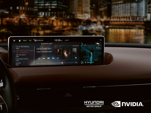 This photo, provided by Hyundai Motor Group on Nov. 10, 2020, shows chipmaker Nvidia's in-vehicle infotainment system with artificial intelligence features. (PHOTO NOT FOR SALE) (Yonhap)