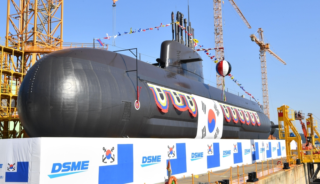 This photo, provided by the Navy, shows South Korea's new 3,000-ton indigenous submarine, Ahn Mu, featuring advanced combat and sonar systems. The Navy was to hold a launching ceremony for the mid-class diesel-powered submarine, named after a prominent Korean independence fighter, at the Okpo Shipyard of Daewoo Shipbuilding and Marine Engineering Co. in the southeastern city of Geoje on Nov. 10, 2020. (PHOTO NOT FOR SALE) (Yonhap)
