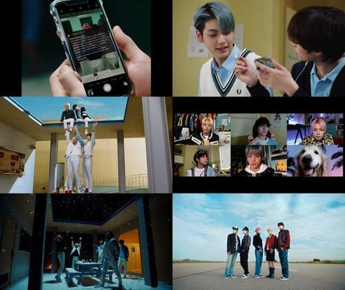 "This combined image, provided by Big Hit Entertainment, shows scenes from the music video of Tomorrow X Together's latest song ""We Lost the Summer."" (PHOTO NOT FOR SALE) (Yonhap)"