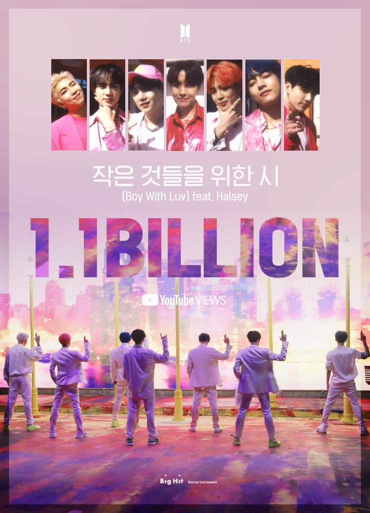 "This image, provided by Big Hit Entertainment, shows an image celebrating 1.1 billion YouTube views for the BTS music video ""Boy With Luv (Feat. Halsey)."" (PHOTO NOT FOR SALE) (Yonhap)"