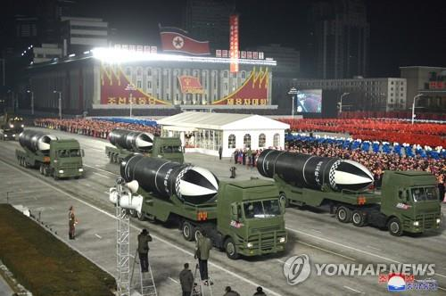 This photo released by North Korea's Korean Central News Agency on Jan. 15, 2021, shows submarine-launched ballistic missiles displayed during a military parade held in Pyongyang the previous day. (For Use Only in the Republic of Korea. No Redistribution) (Yonhap)