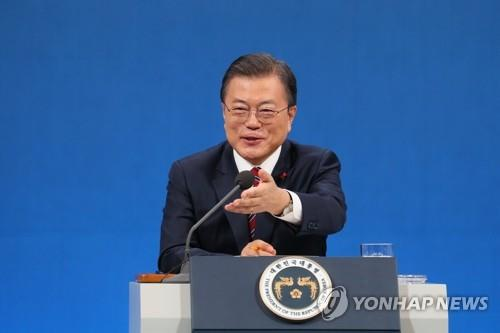 President Moon Jae-in speaks during a New Year's press conference on Jan. 18, 2021, held at Cheong Wa Dae in Seoul. (Yonhap)