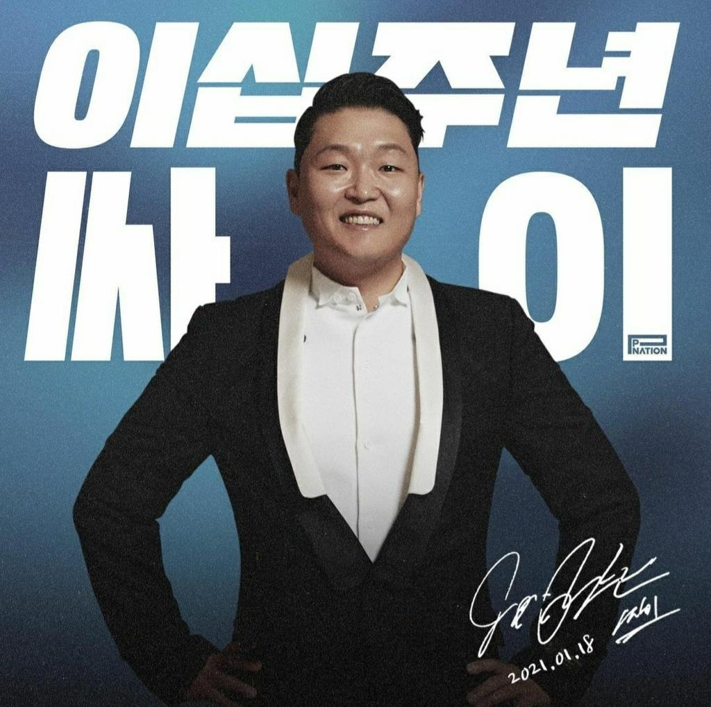 This screenshot from music label P Nation's Instagram account on Jan. 18, 2021, shows a photo marking Psy's 20th anniversary. (PHOTO NOT FOR SALE) (Yonhap)