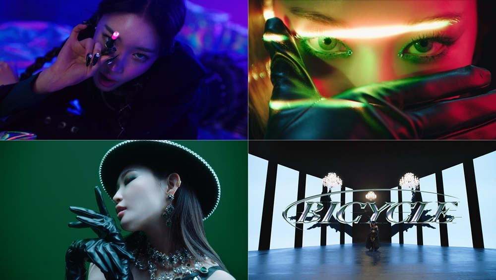 "This image, provided by MNH Entertainment, shows clips from the music video teaser for Chungha's upcoming song ""Bicycle."" (PHOTO NOT FOR SALE) (Yonhap)"