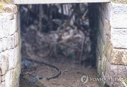 This file photo, taken July 27, 2020, shows a drain in the northern part of Ganghwa Island, around 50 km west of Seoul, which may have been used by a North Korean defector to return to his home country as it leads to the waters bordering the North. The military said a bag belonging to the 24-year-old, 163-centimeter-tall man was found near the drain. Authorities speculated that the defector swam to North Korea. (Yonhap)
