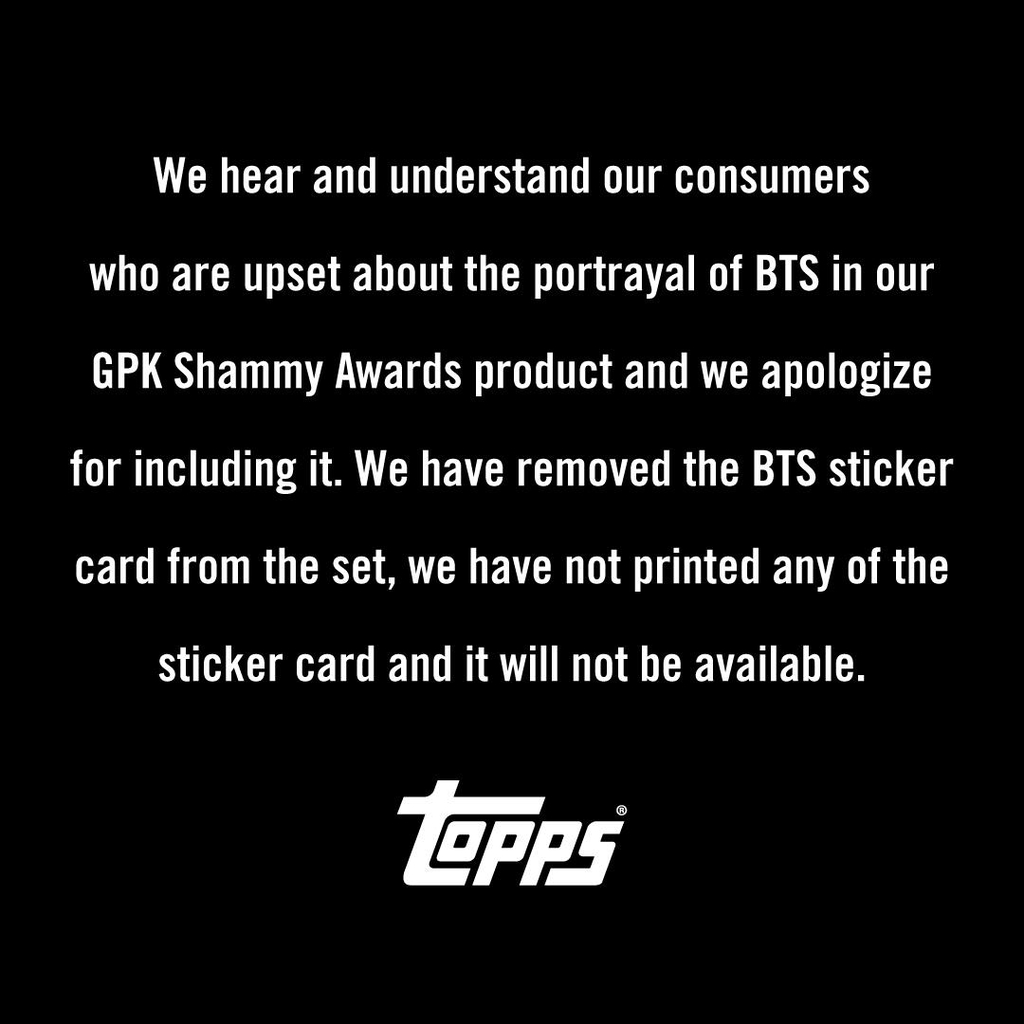 This screenshot, shared on the official Twitter account of Topps, shows a statement after its Grammy-themed product came under fire for its violent depiction of BTS. (PHOTO NOT FOR SALE) (Yonhap)