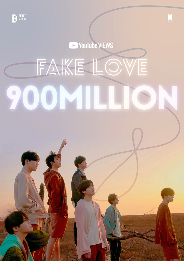 "This photo, provided by Big Hit Music on April 8, 2021, marks 900 million YouTube views for the BTS music video ""Fake Love."" (PHOTO NOT FOR SALE) (Yonhap)"