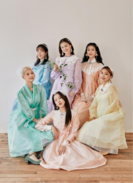 "This photo, provided by the Ministry of Culture, Sports and Tourism on April 13, 2021, shows members of K-pop girl group Momoland wearing traditional Korean attire ""hanbok."" (PHOTO NOT FOR SALE) (Yonhap)"