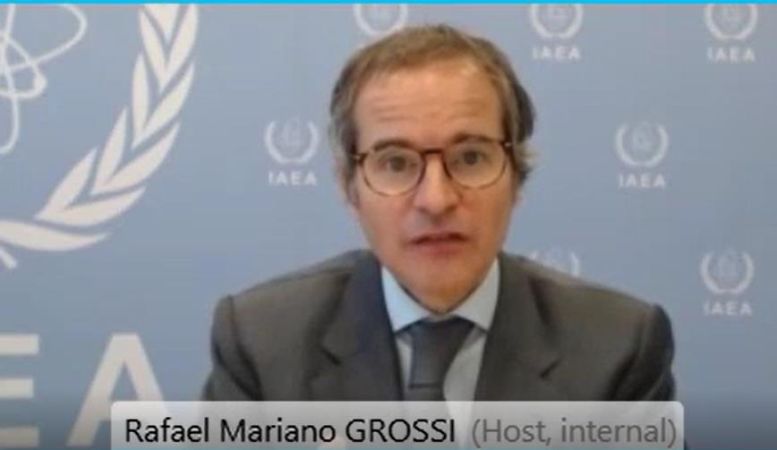 This image captured from the interview footage, shows Rafael Mariano Grossi, director general of the International Atomic Energy Agency (IAEA), speaking with Yonhap News Agency via virtual link on April 20, 2021. (Yonhap)