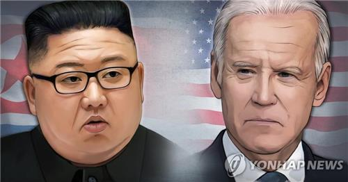 This graphic image shows North Korean leader Kim Jong-un (L) and United States President Joe Biden. (Yonhap)